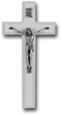 White Wood Crucifix 7""