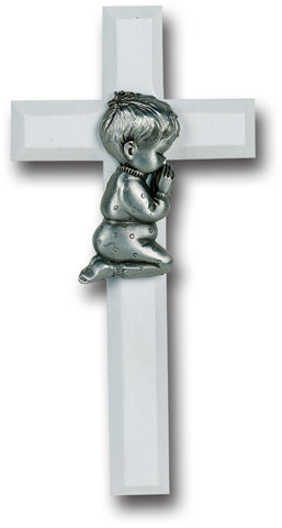 White Wood Cross with Praying Boy 7""