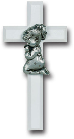 White Wood Cross with Praying Girl 7""