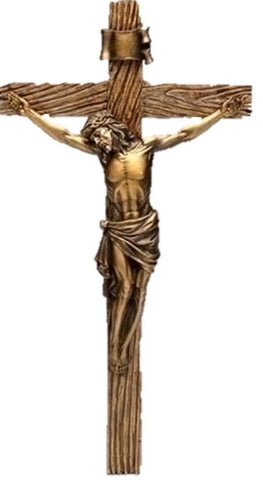 Wood Inspired Bronze Wall Crucifix 13""