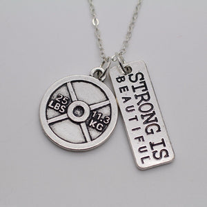 Weight Plate Necklace with Strong Is Beautiful Charm
