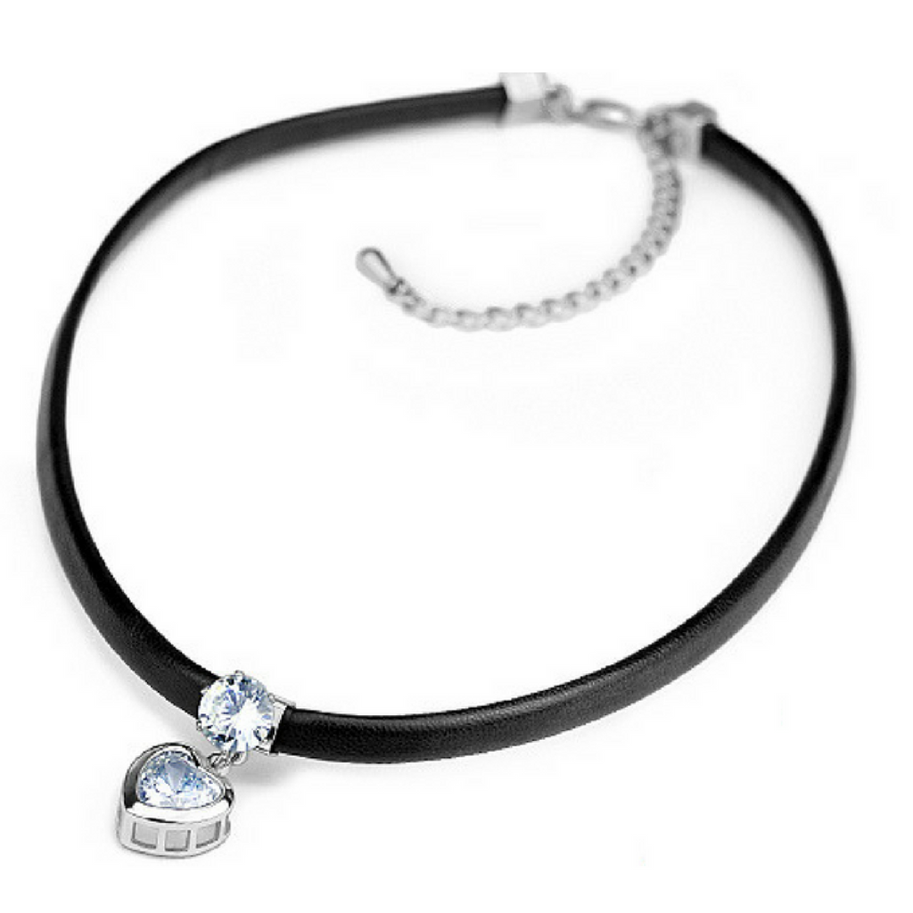Cubic Zircon Heart Pendant Leather Choker