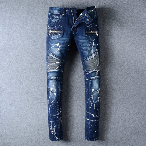 Men's Ripped Biker Jeans with White Splashed Paint - Slim Fit