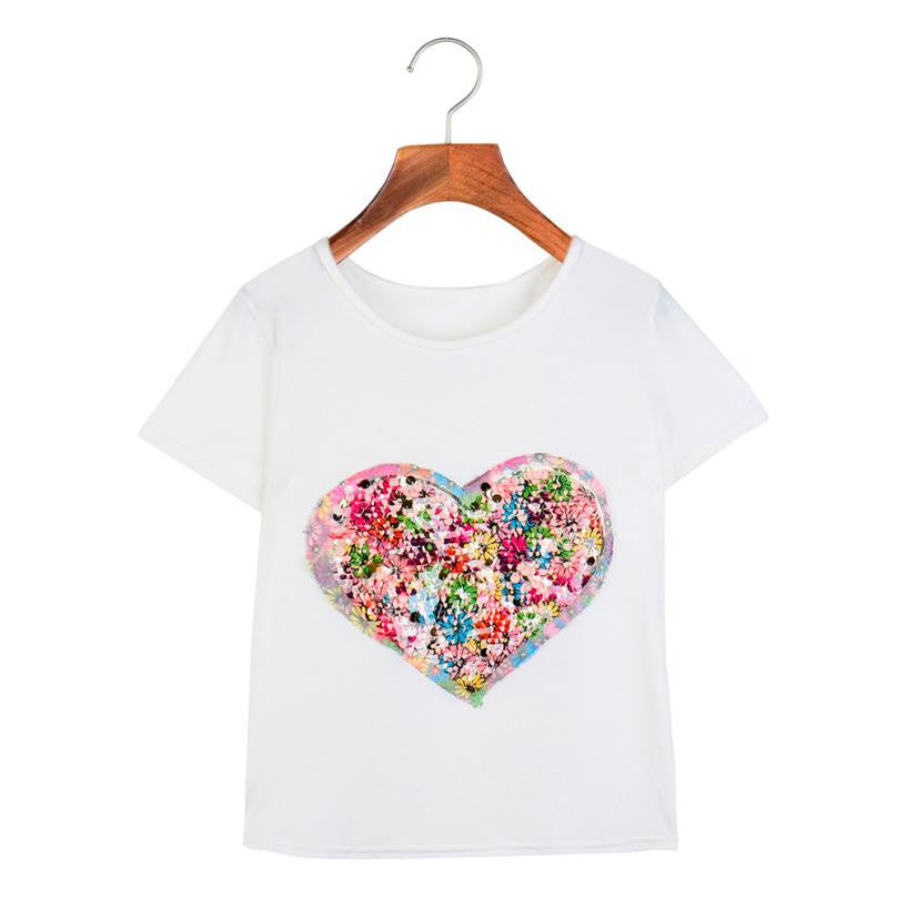 Sequined Love Heart Casual Short Sleeve White Top