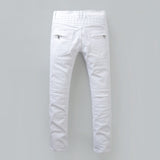 White Ripped Slim Fit Biker Jeans