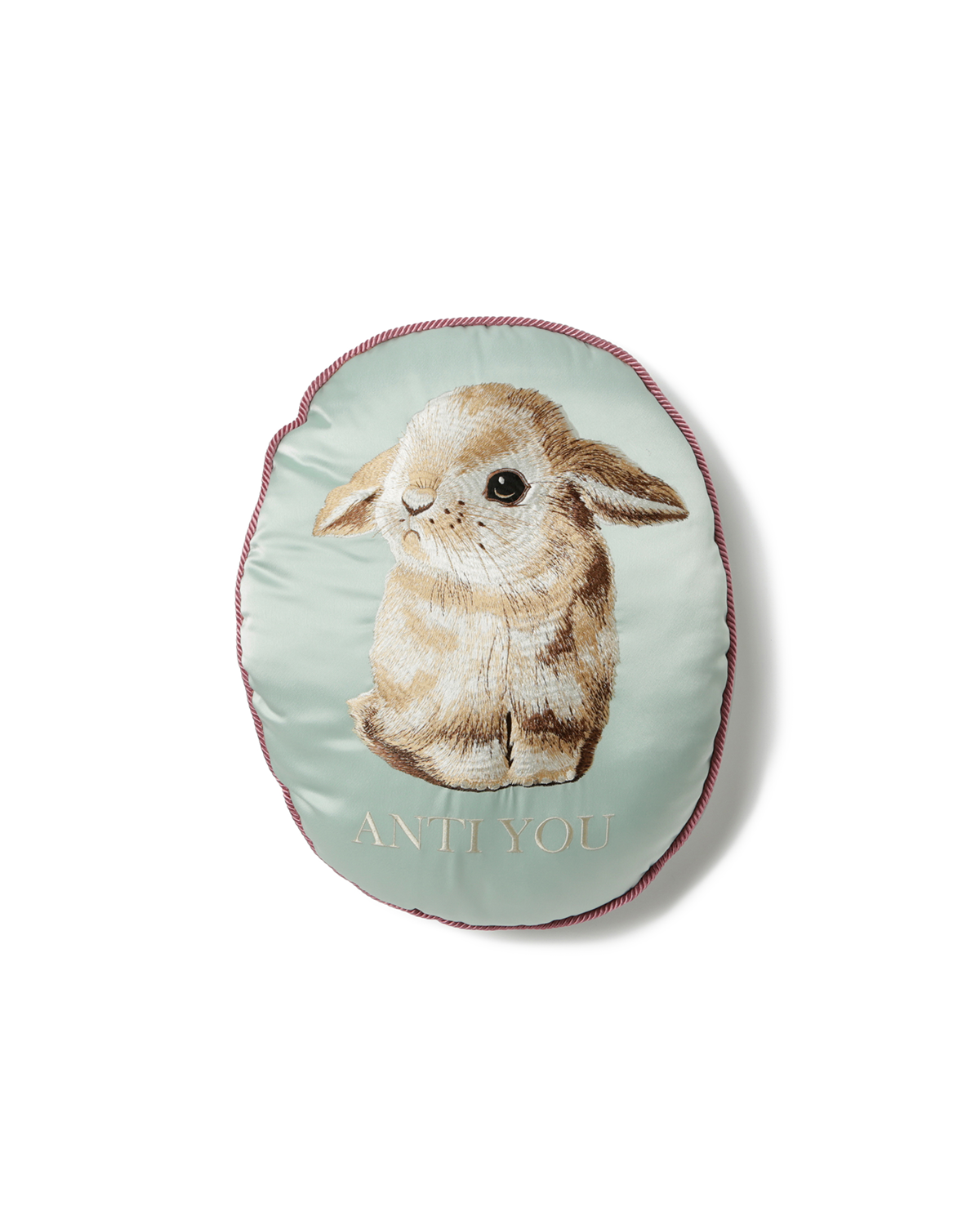Bunny Embroidered Cushion Pale Green