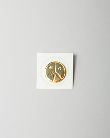 Peace Logo Pin Gold Tone