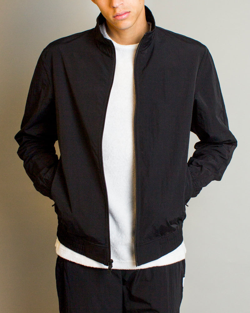 Woven Classic Nylon Warm Up Jacket Black
