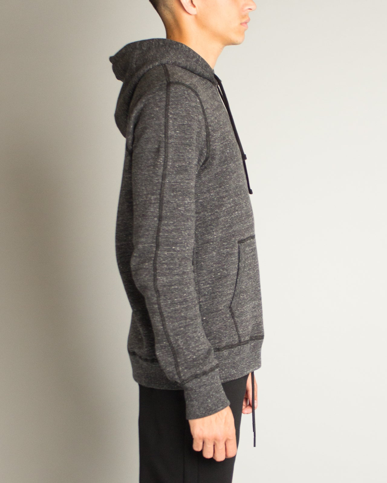 Double Knit Mesh Side Zip Pullover Hoodie Heather Black