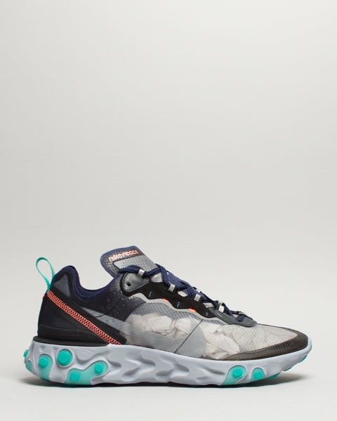 React Element 87 Black/Midnight Navy/Neptune Green Nike Mens Sneakers Seattle