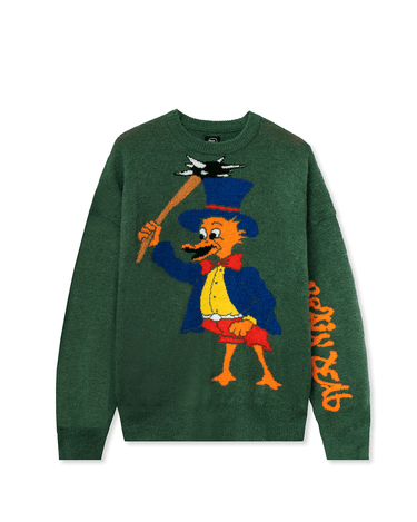 Brain Duck Novelty Knit Sweater Green 1