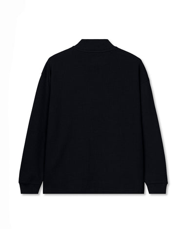 Waffle Knit Mock Neck Long Sleeve Shirt Black 2