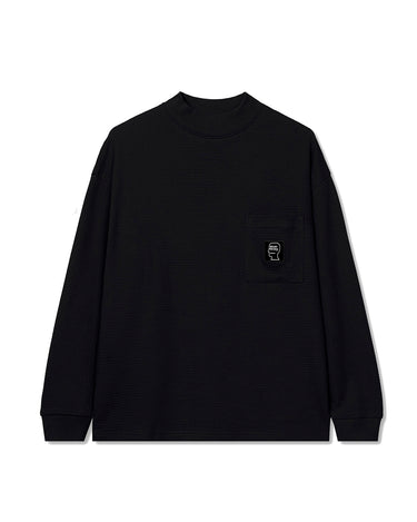 Waffle Knit Mock Neck Long Sleeve Shirt Black 1