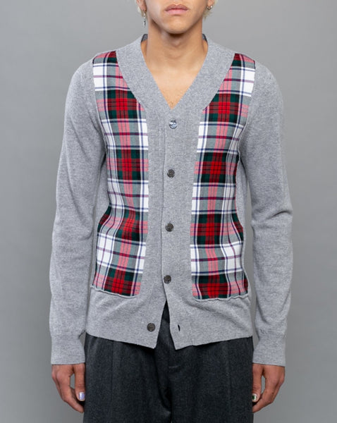 Tartan Check Front Cardigan Grey