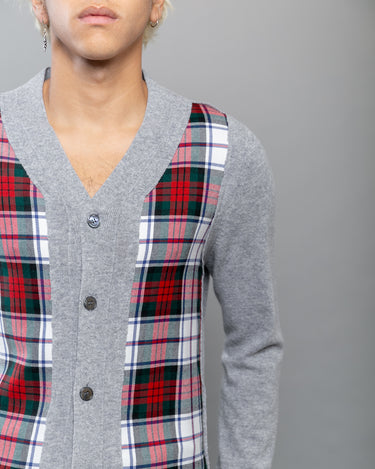 Tartan Check Front Cardigan Grey 2