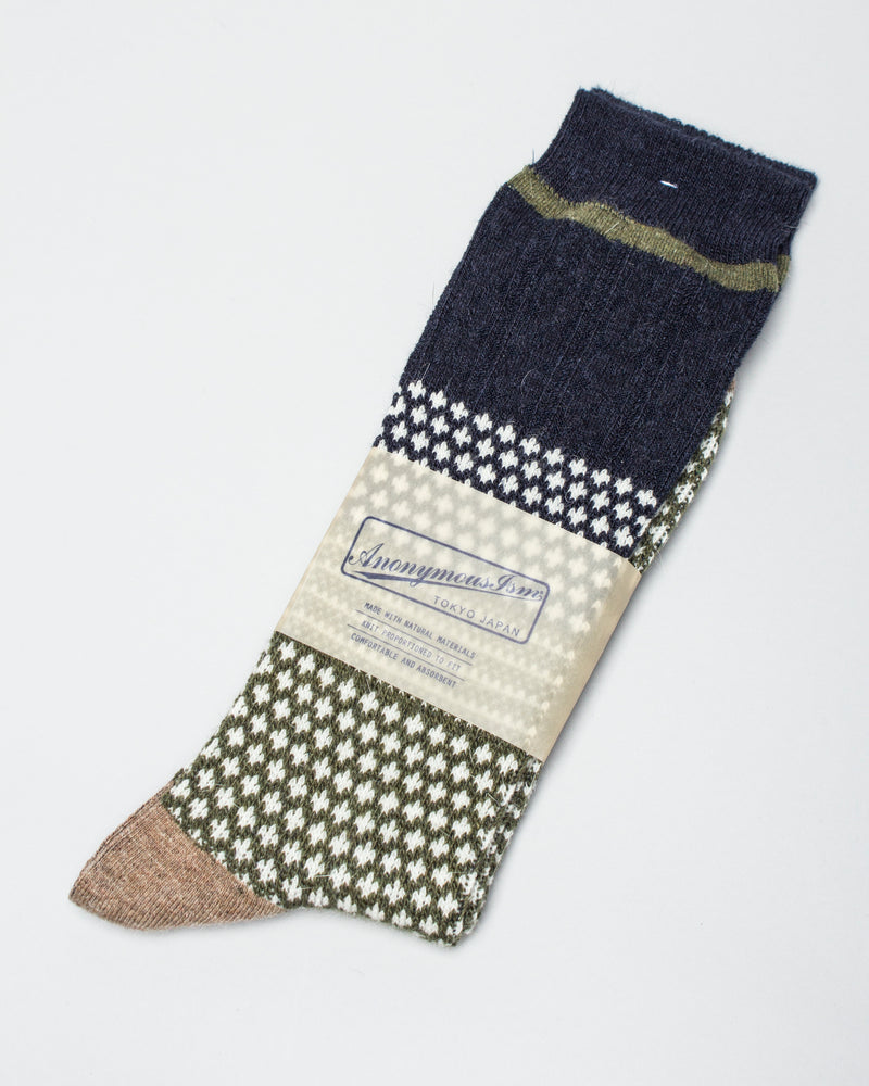Chesnut JQ Crew Sock Moss/Navy