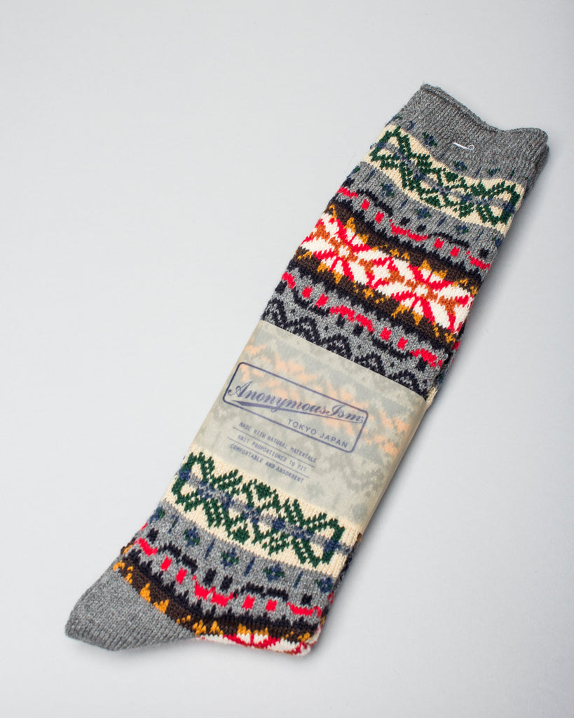 FairIsle Crew Sock Grey