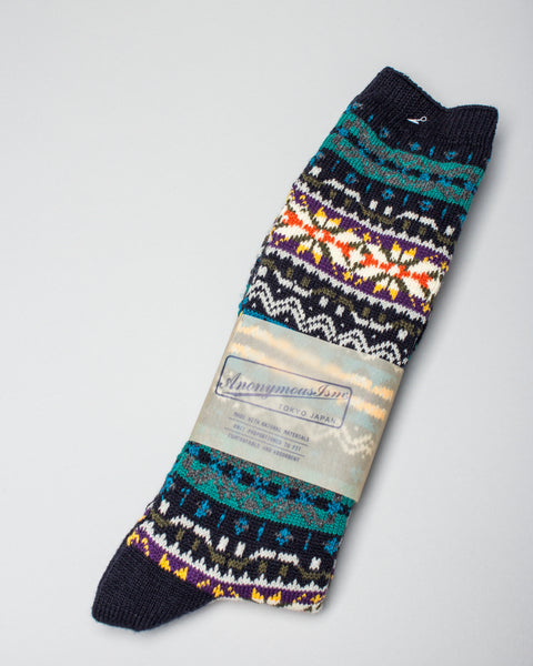 FairIsle Crew Sock Navy