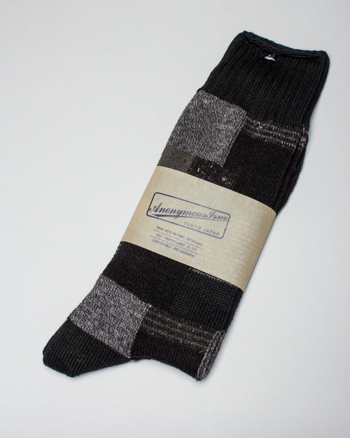 Block Pattern Sock Black 1
