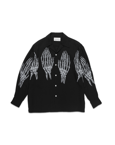 Hawaiian LS Shirt (TYPE-5) Black/White 1