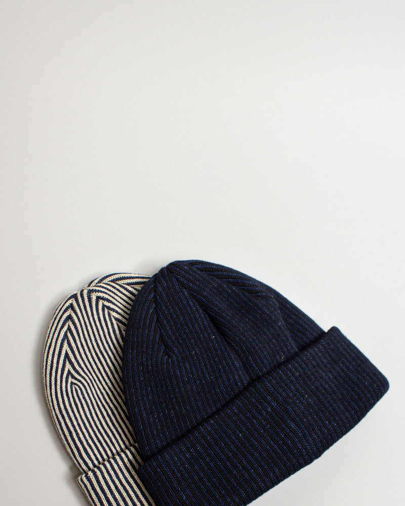 Striped Indigo Cotton Beanie