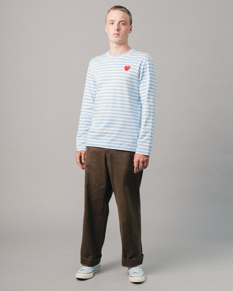 Medium Heart Striped LS T-Shirt Blue/White
