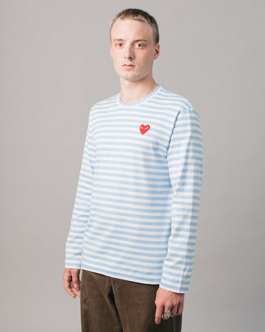 Medium Heart Striped LS T-Shirt Blue/White 1