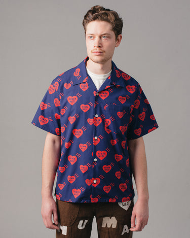 Heart Patten Aloha Shirt Navy 1
