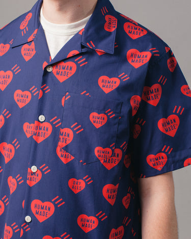 Heart Patten Aloha Shirt Navy 2