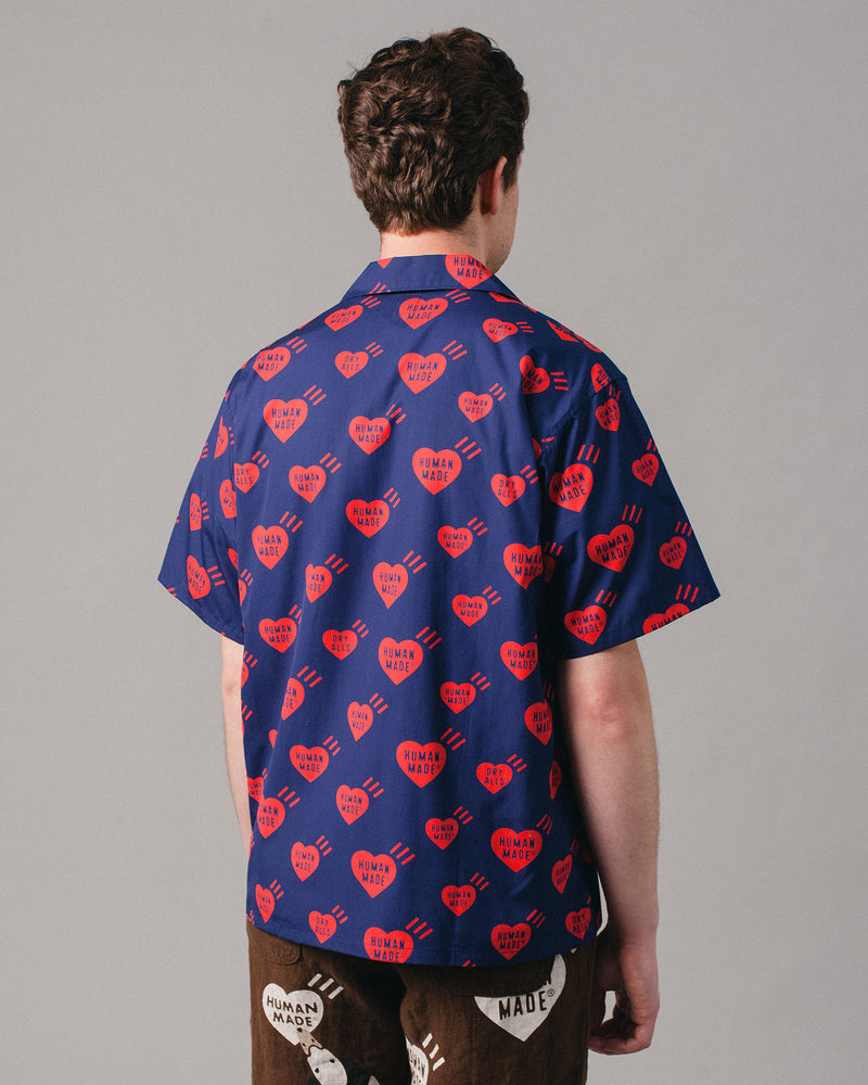 Heart Patten Aloha Shirt Navy