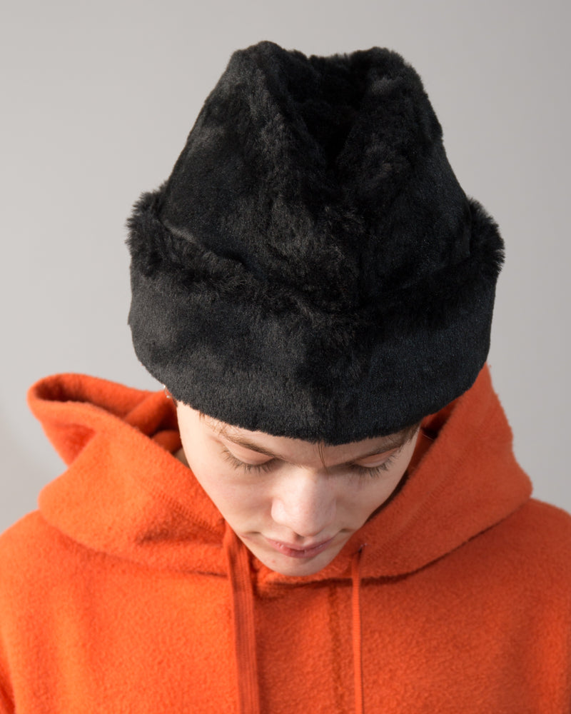 Faux Fur Hat Black