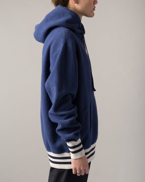 Reverse Fleece Hooded Sweatshirt Navy 2