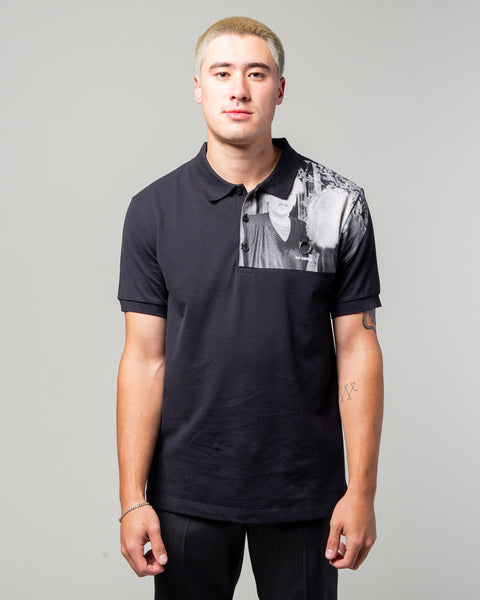 Raf Simons Shoulder Print Polo Black