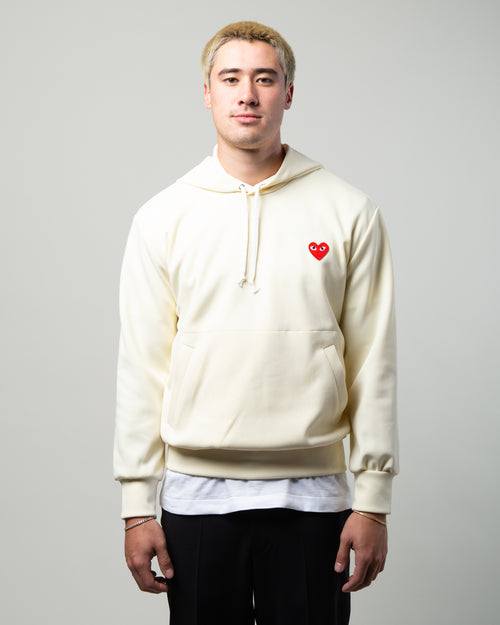 PLAY Red Heart Hoodie Ivory 1