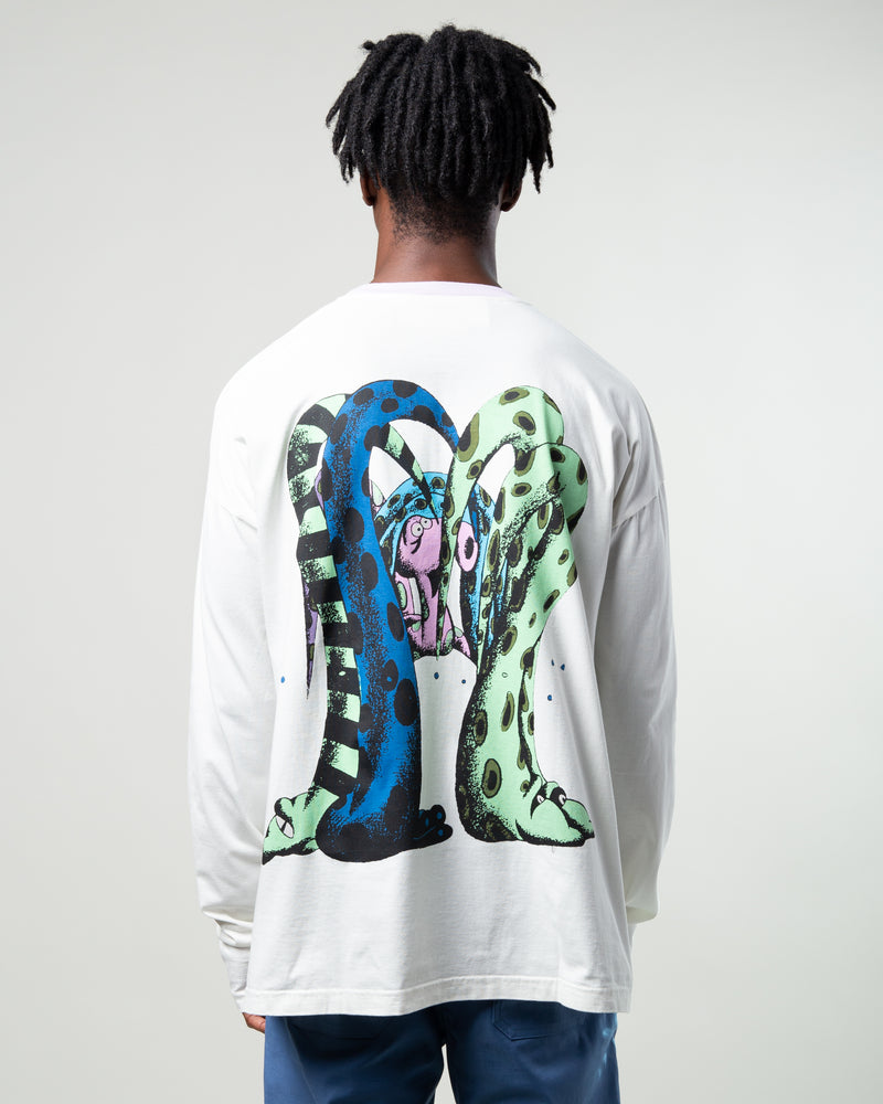 Monster Printed Graphic T-Shirt White/Lavender