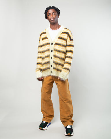 Striped Mohair Cardigan Black/Yellow