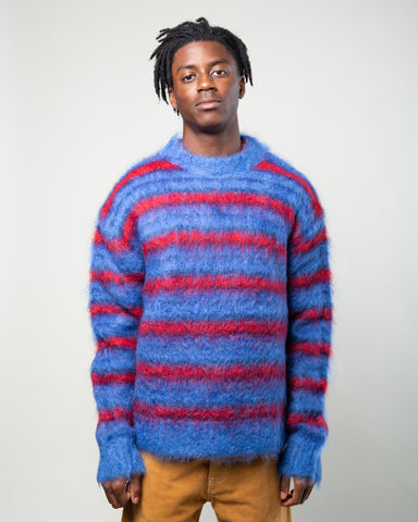 Striped Mohair Sweater Blue/Red