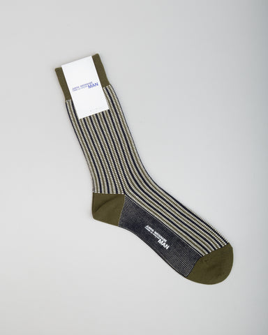 Jacquard Stripe Sock Khaki/Black/White