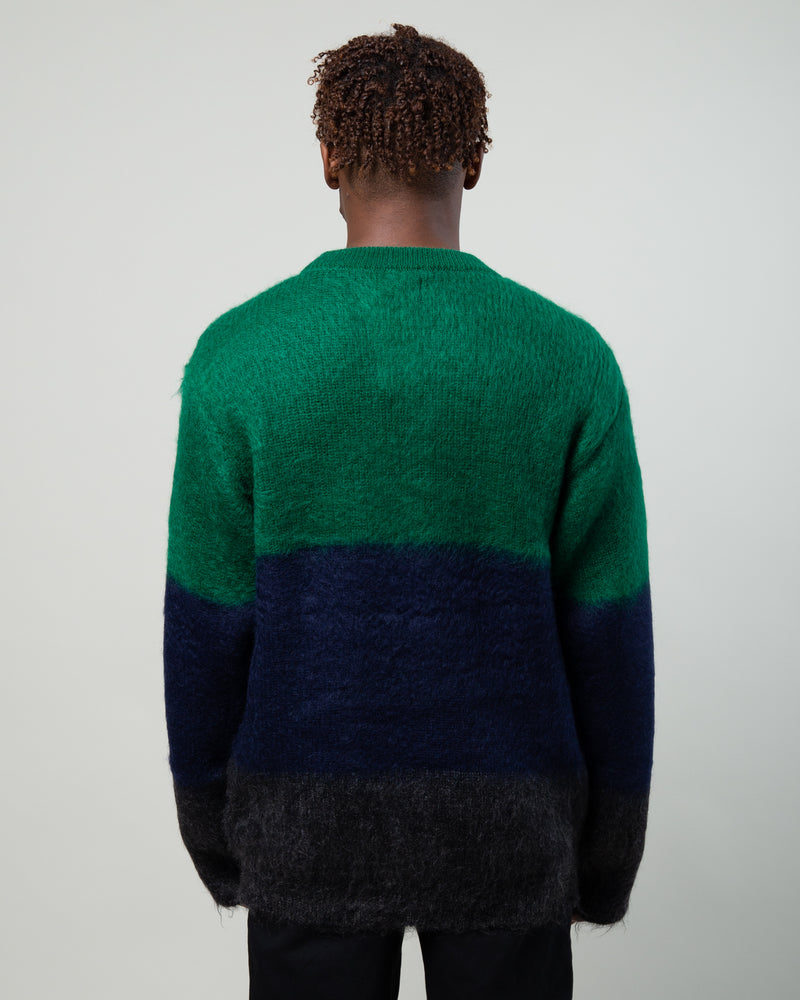 Mohair Striped Sweater Green/Blue/Charcoal