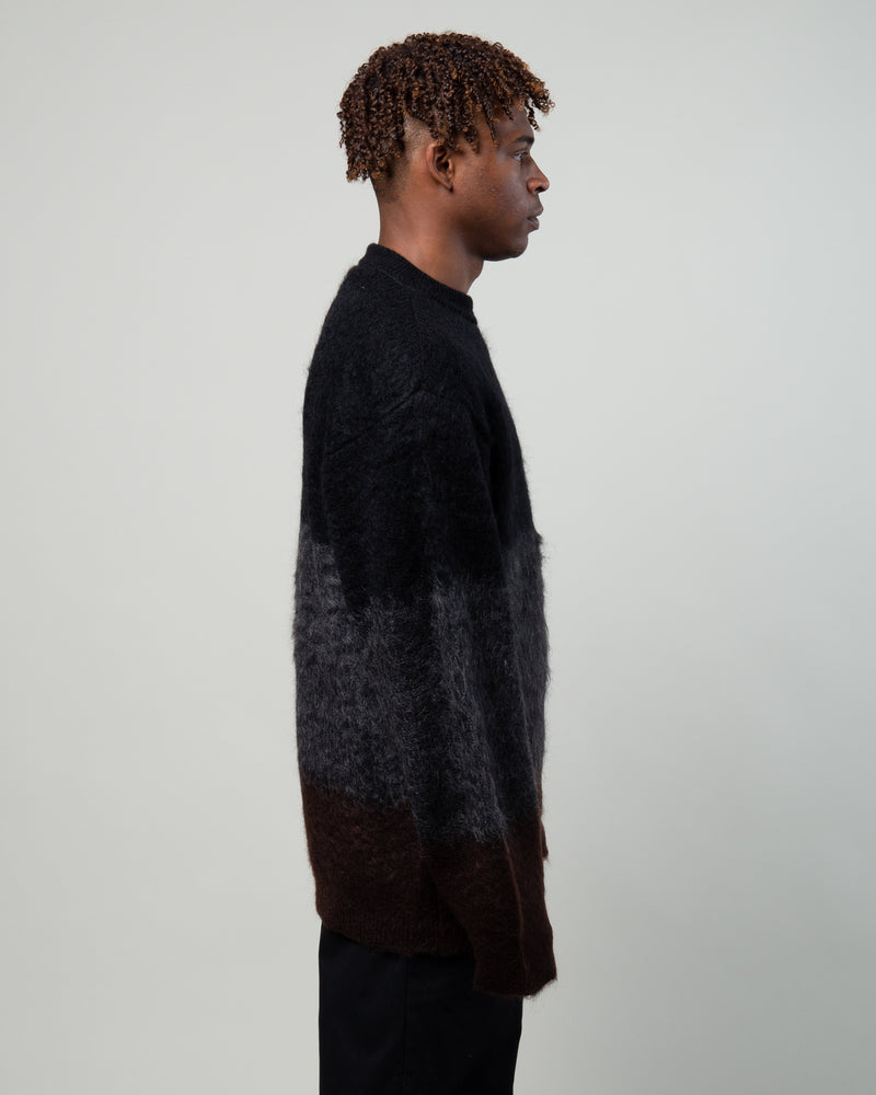 Mohair Striped Sweater Black/Charcoal/Brown