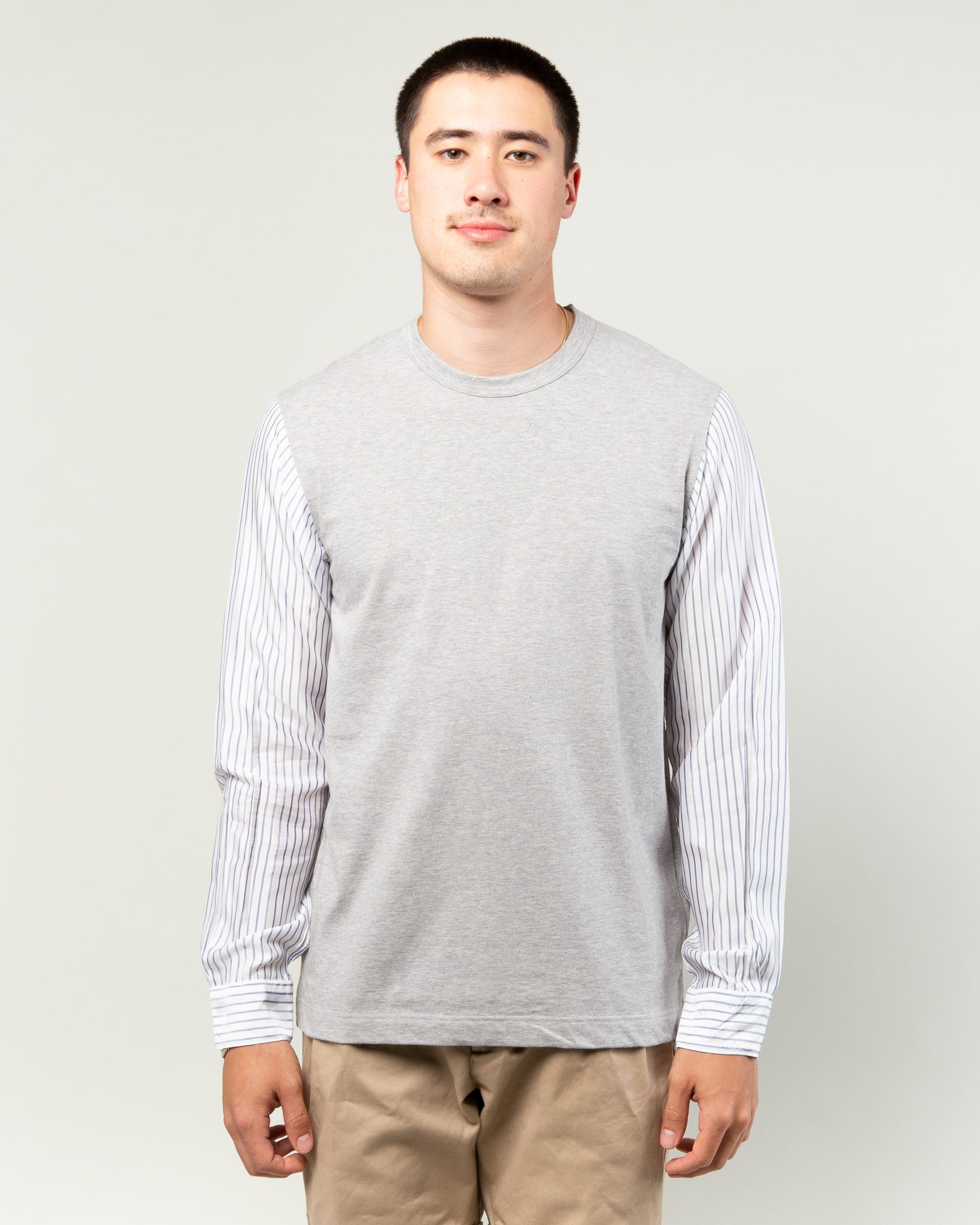 Stripe Sleeve LS Tee Grey