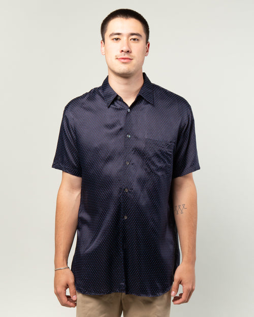 Polka Dot SS Shirt Navy/Blue 1