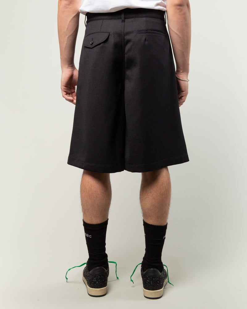 Carded Wool Gabardine Shorts Navy