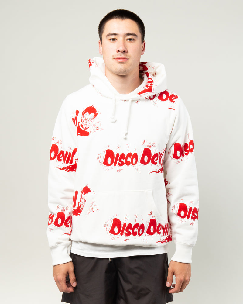 Disco Devil Pullover Hooded Sweatshirt White