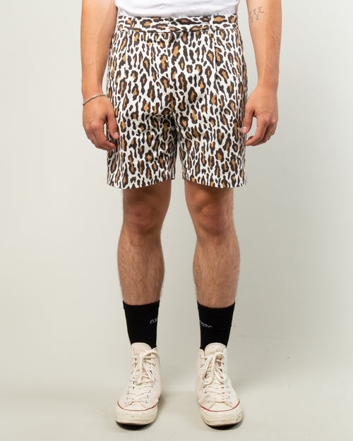 Leopard Pleated Short Trousers White 1