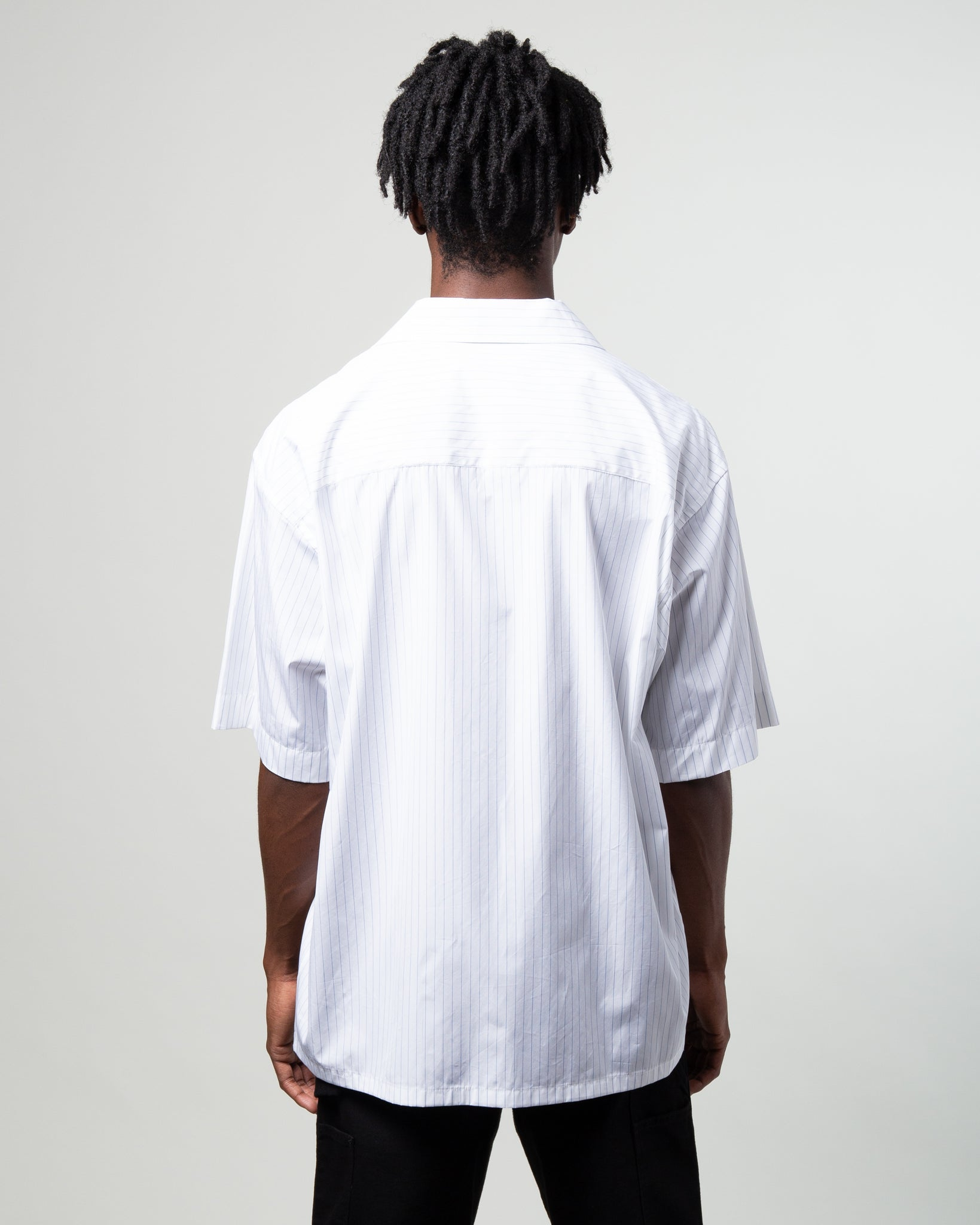 Striped Yarn Dyed Poplin Shirt with Printed Graphic