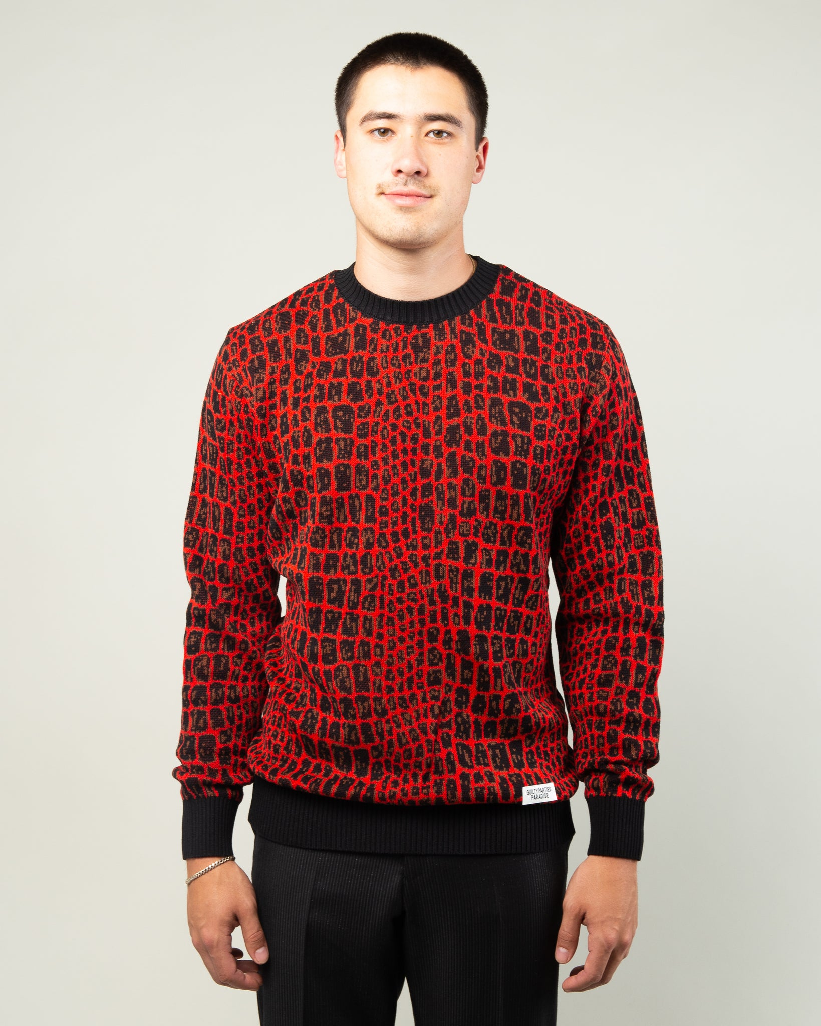 Crocodile Jacquard Sweater Red