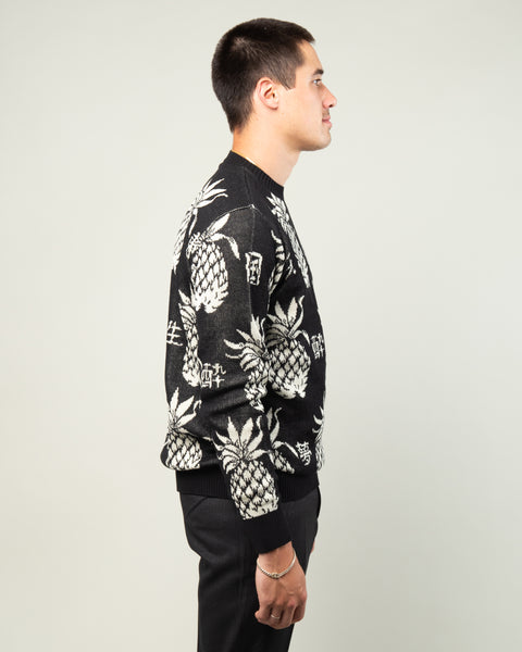 Pineapple Jacquard Sweater Black