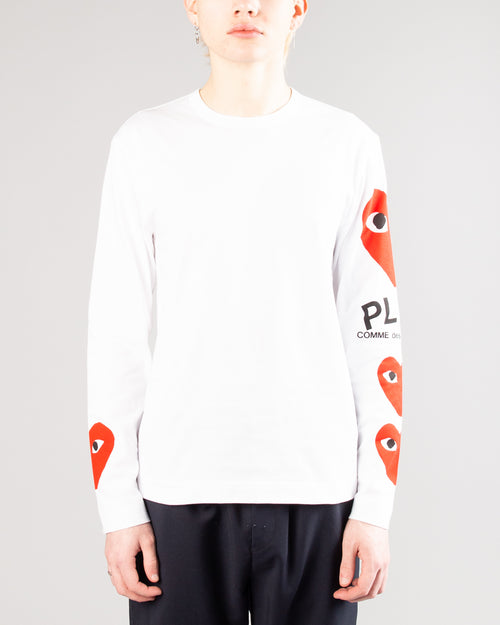 PLAY 3 Heart Long Sleeve White 2