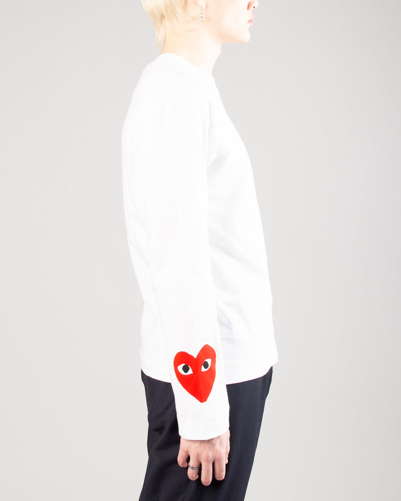 PLAY 3 Heart Long Sleeve White